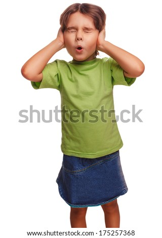 baby girl closed her eyes her ears loud fear noise isolated on white background - stock photo