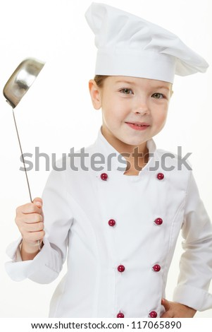 Baby girl cook - stock photo