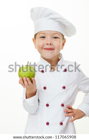Baby girl cook with apple - stock photo