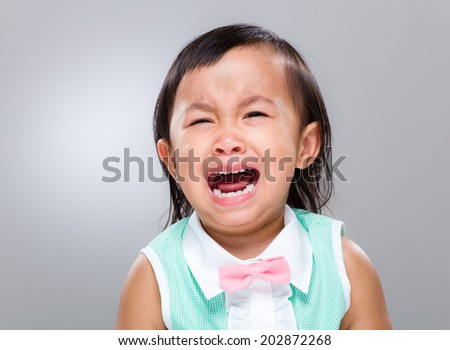 Baby girl cry - stock photo