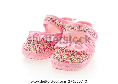 Baby girl flower shoes isolated on white background