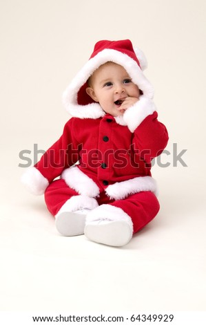 Baby Girl in Holiday Costume for First Christmas.