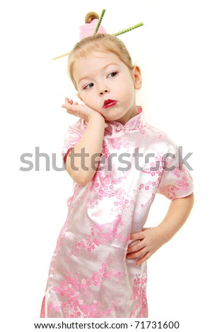 Baby girl in japanese dress