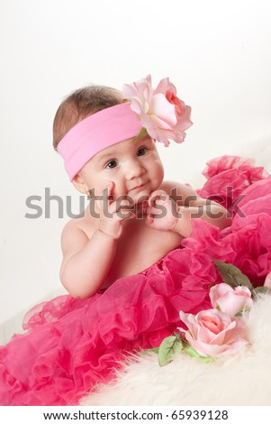 baby girl in pink dress, 6 month