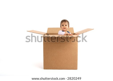 baby girl inside box, surprised