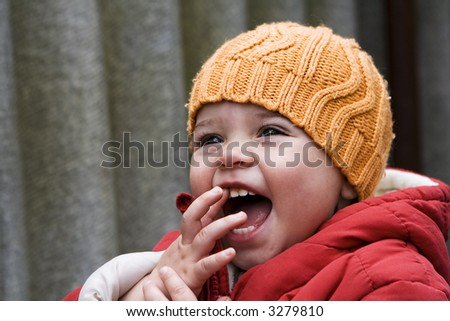 Baby girl laughing - stock photo
