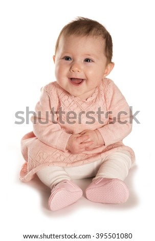 baby girl laughing studio cutout - stock photo