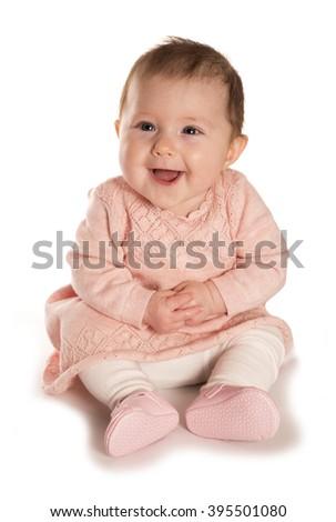 baby girl laughing studio cutout - stock photo