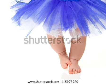 baby girl like a ballet dancer in blue tutu, isolated on white background - stock photo