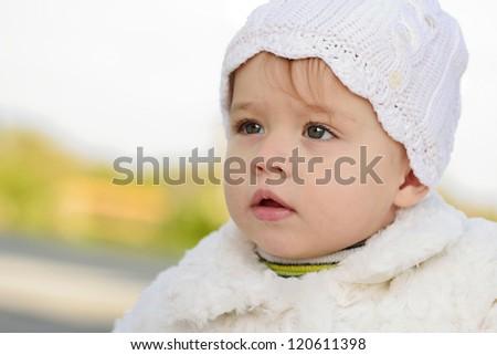baby girl looking ahead - stock photo