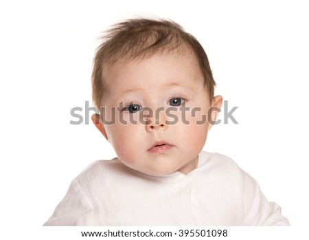 baby girl looking confused studio cutout - stock photo
