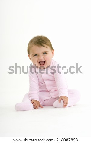 Baby girl (3-6 months) laughing