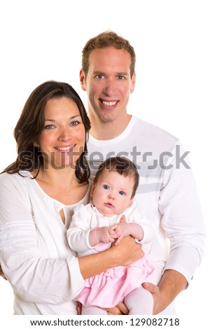 Baby girl mother and father family happy on white background - stock photo