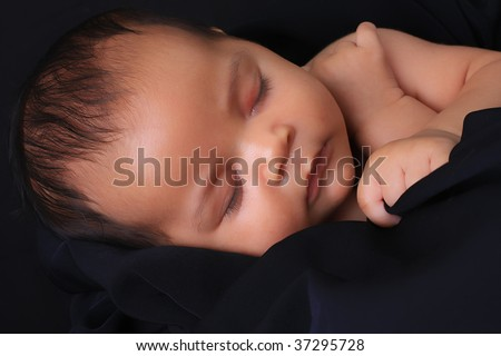 Baby girl of African American and Caucasian heritage. - stock photo