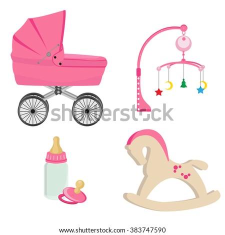 Baby girl pink perambulator, bottle, nipple, pram rattle with star, moon and tree , rocking horse raster icon set - stock photo