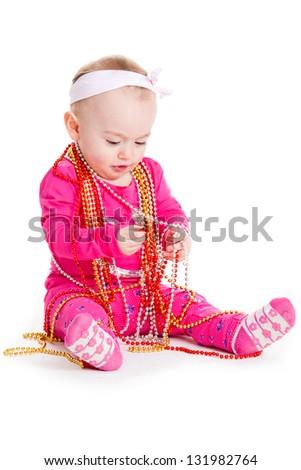 baby girl playing with  beads. beautiful baby girl. Happy Baby Girl - stock photo