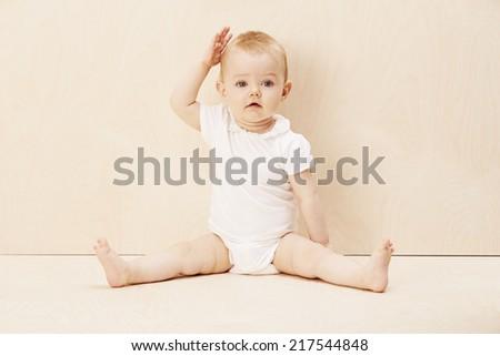 Baby girl portrait, studio shot  - stock photo