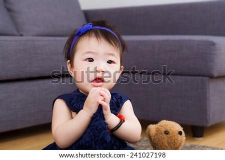 Baby girl pray - stock photo