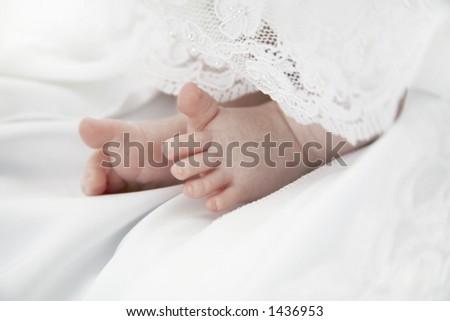 Baby Girl's Toes - stock photo