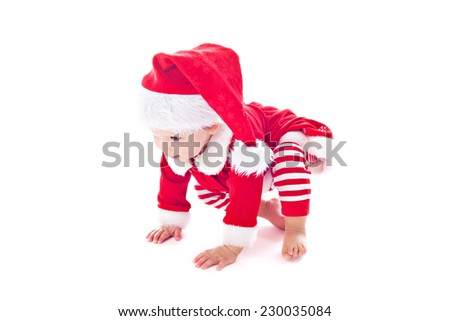 Baby girl santa helper isolated over white - stock photo