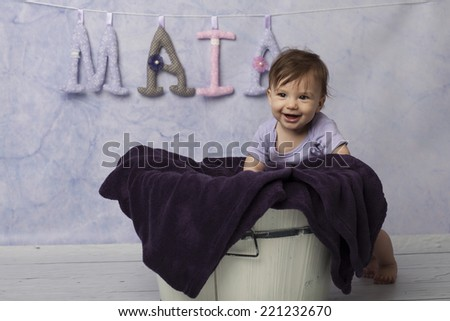 Baby girl - studio shot - stock photo