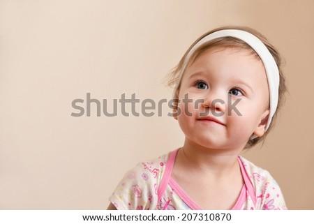 Baby Girl Thinking - stock photo