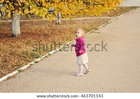 baby girl walking in  the fall park