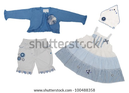 Baby girl white and blue clothes isolated on white background - stock photo