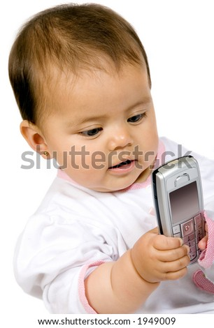 baby girl with a mobile phone over white