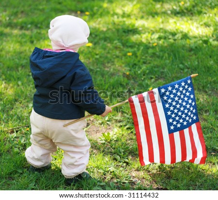baby-girl with American flag