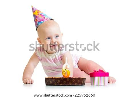 baby girl with birthday cake and gifting box - stock photo
