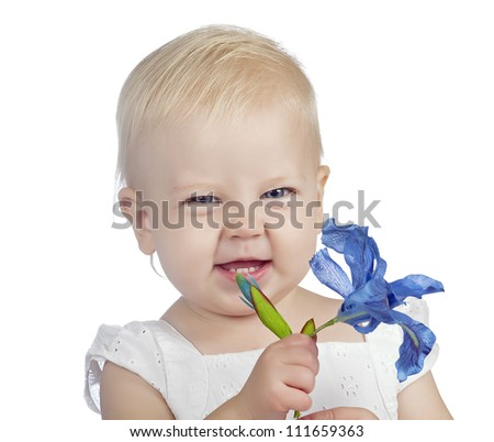 baby girl with flower