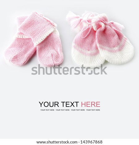 Baby gloves and socks, Baby concept - stock photo