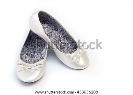 baby gray ballet flats. Isolated on white background - stock photo