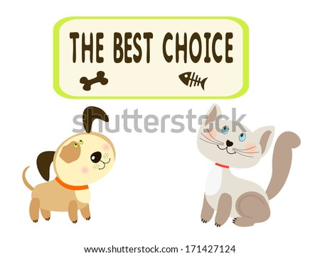 Baby greeting card with cat and dog - stock photo