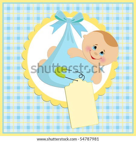 Baby greetings card with blue bundle