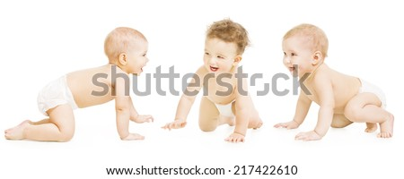 Baby Group Crawling In Diaper, Toddler Children Happy Smiling, Infant Kids Isolated Over White Background - stock photo