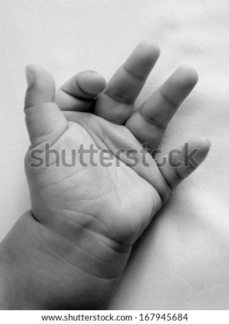 baby hand , black and white