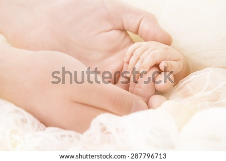 Baby Hand, Mother Hold New Born Child, Parent Touch Small Newborn Kid, Family Help Care Concept
