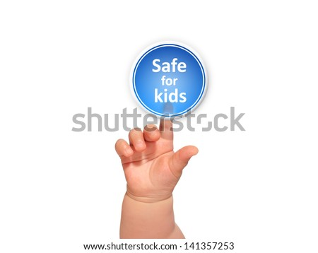 Baby hand pressing safe for kids button.