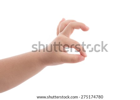 Baby hand showing ok sign on white background isolated - stock photo