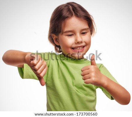 baby happy little girl shows sign yes no gesture isolated on white background emotions gray large - stock photo