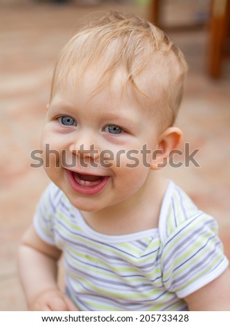baby happy portrait - stock photo