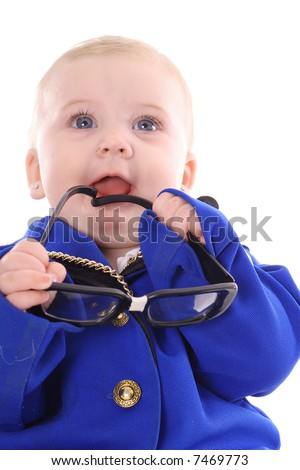 baby holding genius glasses - stock photo