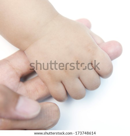baby holding mom's finger, hand isolate on white background