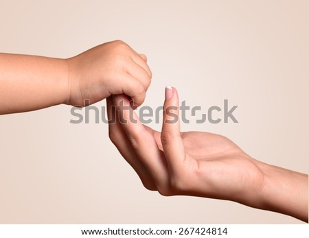 Baby, Human Hand, Mother. - stock photo