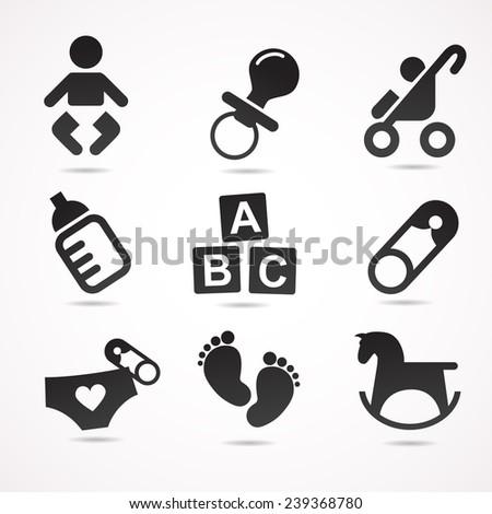 Baby icon set.  - stock photo