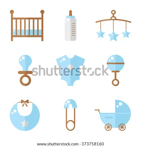 Baby icons isolated on white background. Cot, baby bottle, toys, clothes, rattle, baby pin, baby carriage, bib, soother. Baby boy icons set. Flat style illustration.  - stock photo