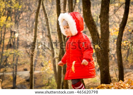 baby in a beautiful autumn forest walks and enjoys a good Sunny weather