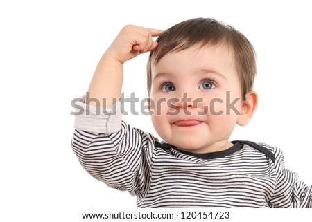 Baby in a thinking pose having an idea on a white background